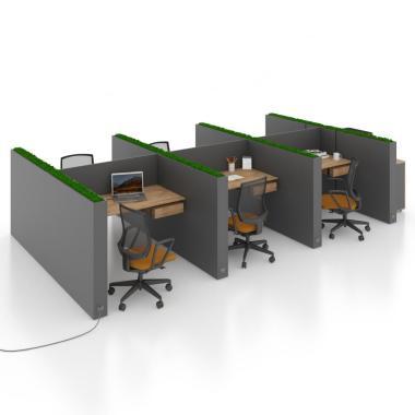 Комп'ютерний стіл на 6 осіб з перегородкою для Open Space Salita Графіт Co_d 35/13