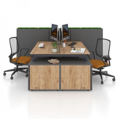 Комп'ютерний стіл з перегородкою на два робочі місця Salita Графіт Co_d 35/15